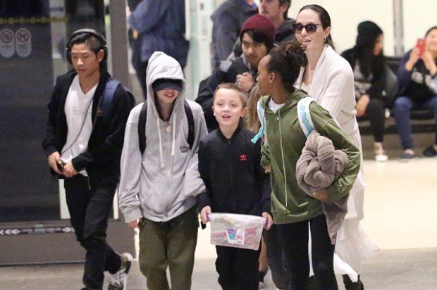 Angelina Jolie and her children arrive at LAX Airport in Los Angeles