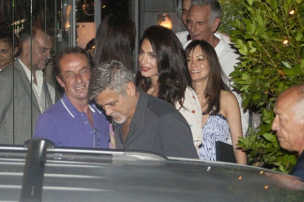 George Clooney and Amal Alamuddin dinner at the Gatto Nero restaurant in Como lake