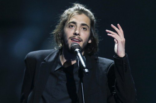 "Salvador Sobral from Portugal performs the song ""Amar pelos dois"" during rehearsals for the Eurovision Song Contest, in Kiev, Ukraine, Friday, May 12, 2017. The final of The Eurovision Song Contest 2017 will be held on May 13. (AP Photo/Efrem Lukatsky)"