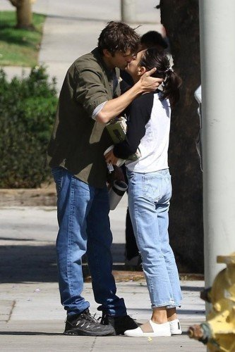 *EXCLUSIVE* So in Love! Ashton Kutcher and Mila Kunis share a passionate kiss before parting ways