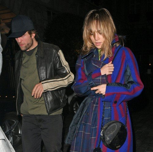 Robert Pattinson and Suki Waterhouse pictured leaving Chiltern Firehouse together