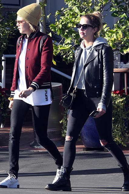 (NO DAILY MAIL).Cara Delevingne and Ashley Benson spotted leaving a West Hollywood restaurant with friends.