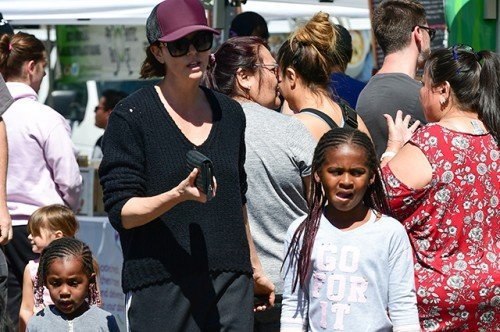 Charlize Theron out with kids
