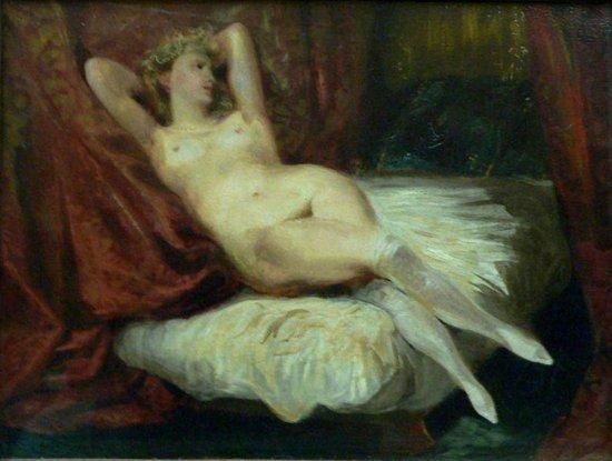 """Эжен Делакруа,  """"Женщина в белых чулках """", 1834."""