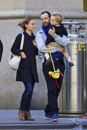 EXCLUSIVE: Natalie Portman and Benjamin Millepied take son Aleph Portman-Millepied for a walk in New York City