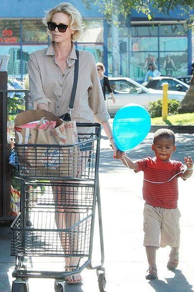 Charlize Theron with her little man, adorable son Jackson at the grocery store in Hollywood