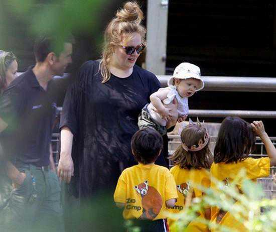 **EXCLUSIVE** Adele is seen doting over her adorable 8 month old baby boy Angelo during a trip to Central Park Children's Zoo in New York City