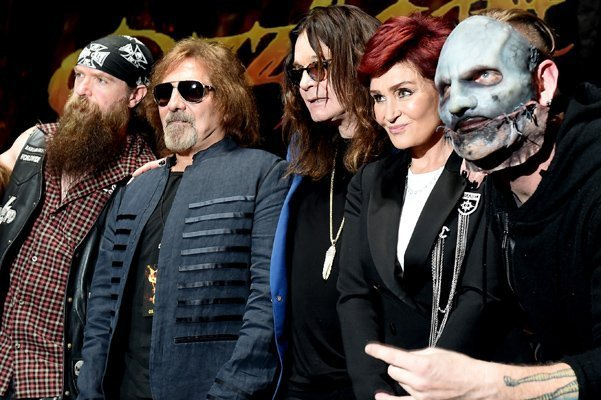 HOLLYWOOD, CA - MAY 12:  (L-R) Musicians Zakk Wylde, Geezer Butler, singer Ozzy Osbourne, Sharon Osbourne and singer Corey Taylor attend the Ozzy Osbourne and Corey Taylor special announcement at the Hollywood Palladium on May 12, 2016 in Hollywood, California. Ozzfest and Knotfest are joining together for a weekend of music September 24th and 25th in San Bernardino, California.  (Photo by Kevin Winter/Getty Images)