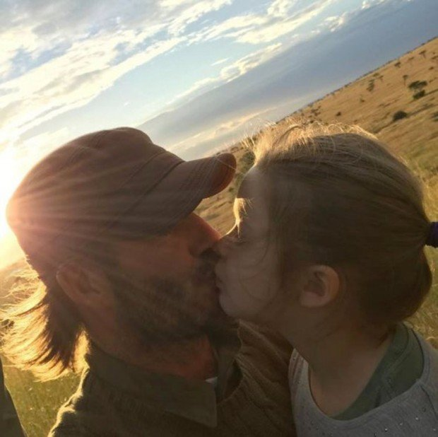 David Beckham kisses harper on the lips