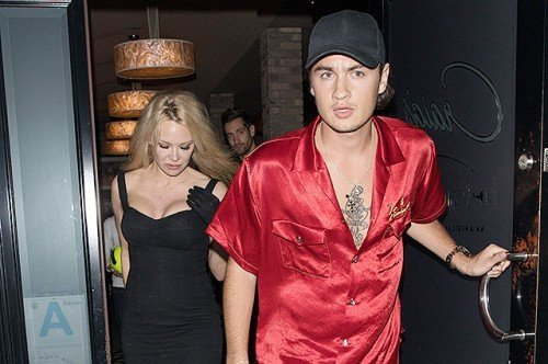 Pamela Anderson and her son Brandon Thomas Lee are both spotted leaving Craig's restaurant in West Hollywood