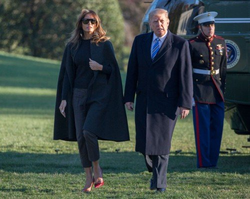 US President Donald Trump Returns To The White House