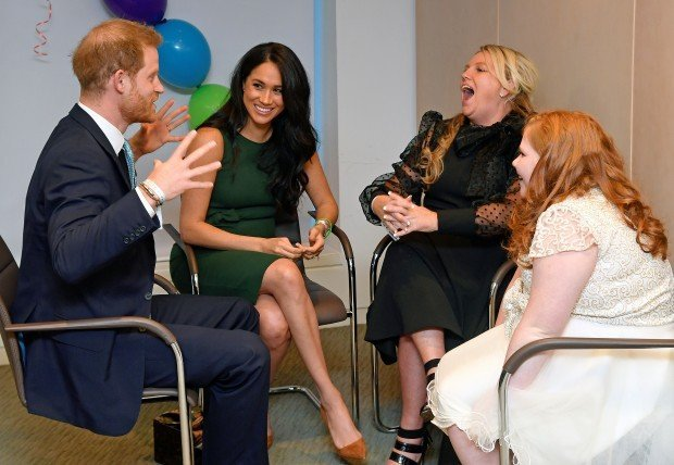 LONDON, ENGLAND - OCTOBER 15: Prince Harry, Duke of Sussex and Meghan, Duchess of Sussex talk with Milky Sutherland and her mother Angela as they attend the WellChild awards pre-Ceremony reception at Royal Lancaster Hotel on October 15, 2019 in London, England. (Photo by Toby Melville - WPA Pool/Getty Images)