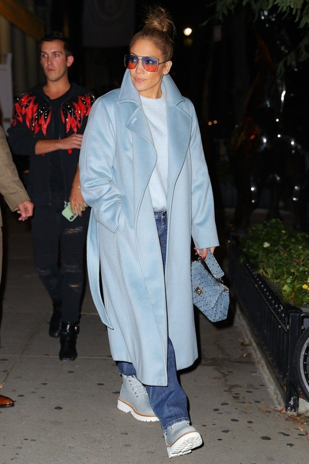Jennifer Lopez wears a baby blue ensemble while leaving Cipriani in SoHo, after having family dinner in NYC, Jennifer wore double color glasses Pictured: Jennifer Lopez Ref: SPL5121903 121019 NON-EXCLUSIVE Picture by: Felipe Ramales / SplashNews.com Splash News and Pictures Los Angeles: 310-821-2666 New York: 212-619-2666 London: +44 (0)20 7644 7656 Berlin: +49 175 3764 166 photodesk@splashnews.com World Rights,