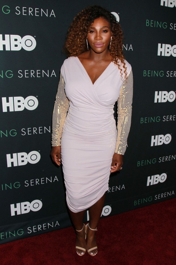 Mandatory Credit: Photo by Dave Allocca/Starpix/REX/Shutterstock (9642664bk) Serena Williams HBO presents The New York Premiere Of 'Being Serena' Her Story, Her Words, USA - 25 Apr 2018 WEARING TOM FORD SAME OUTFIT AS CATWALK MODEL GIGI HADID *9044580h