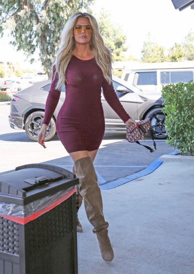 Agoura Hills, CA  - *EXCLUSIVE*  - Khloe Kardashian is out for Wednesday lunch at Plata Taqueria & Cantina in Agoura Hills donning knee-high boots and a burgundy dress. Pictured: Khloe Kardashian  BACKGRID USA 9 OCTOBER 2019  BYLINE MUST READ: JACK / BACKGRID USA: +1 310 798 9111 / usasales@backgrid.com UK: +44 208 344 2007 / uksales@backgrid.com *UK Clients - Pictures Containing Children Please Pixelate Face Prior To Publication*