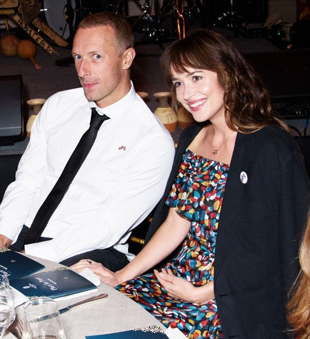"EXCLUSIVE: Chris Martin and Dakota Johnson Attend ""Place for Peace"" Event (Whitaker Peace & Development Initiative ) During the event, there was an auction where a Star Trooper Type Helmet was auctioned off and won by attendee at their table. Today is Chris Martin's ex-Gwyneth Paltrow's birthday. Gotham Hall, NY. 27 Sep 2019 Pictured: Chris Martin, Dakota Johnson. Photo credit: MEGA TheMegaAgency.com +1 888 505 6342 (Mega Agency TagID: MEGA515160_001.jpg) [Photo via Mega Agency]"