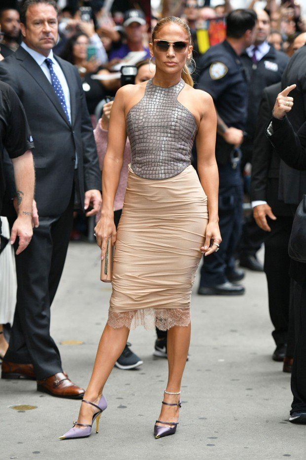 Mandatory Credit: Photo by Erik Pendzich/Shutterstock (10406286i) Jennifer Lopez 'Good Morning America' TV show, New York, USA - 10 Sep 2019 Wearing Tom Ford Same Outfit as catwalk model *9865768ag
