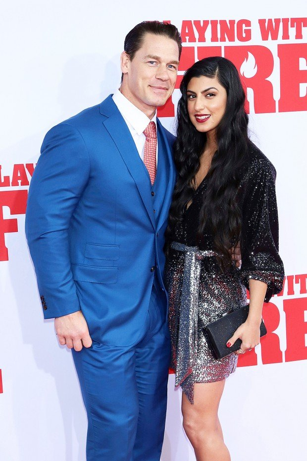 """Mandatory Credit: Photo by Greg Allen/Invision/AP/Shutterstock (10457294y) John Cena, Shay Shariatzadeh. John Cena, left, and Shay Shariatzadeh attend the premiere of Paramount Pictures' """"Playing With Fire"""" at the AMC Lincoln Square on Saturday, Oct. 26, in New York NY Premiere of """"Playing With Fire"""", New York, USA - 26 Oct 2019"""