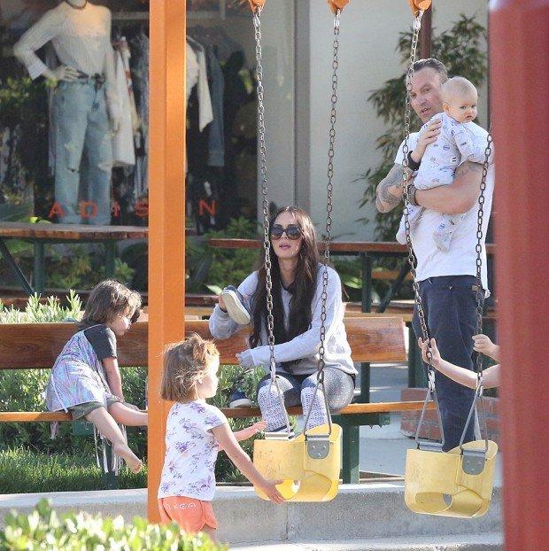 Megan Fox and Brian Austin Green take their kids to the park in Malibu