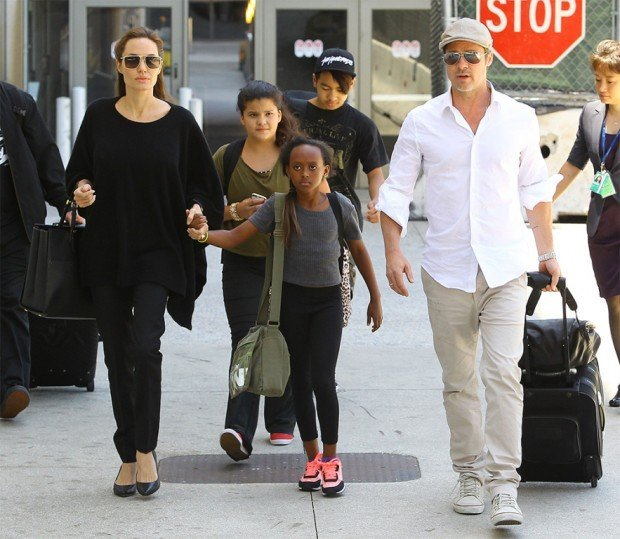 Brad Pitt and Angelina Jolie at LAX Airport, Los Angeles, America - 14 Jun 2014